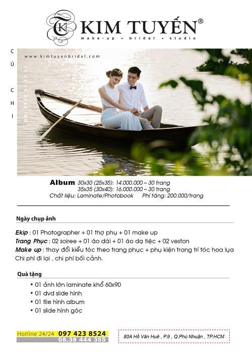 Bảng giá chụp hình cưới Củ Chi của Kim Tuyến Bridal