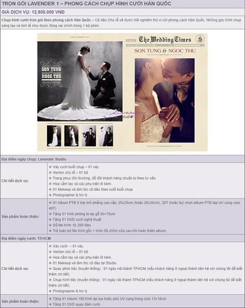 Báo giá album cưới trọn gói của Lavender Studio - hình ảnh 1
