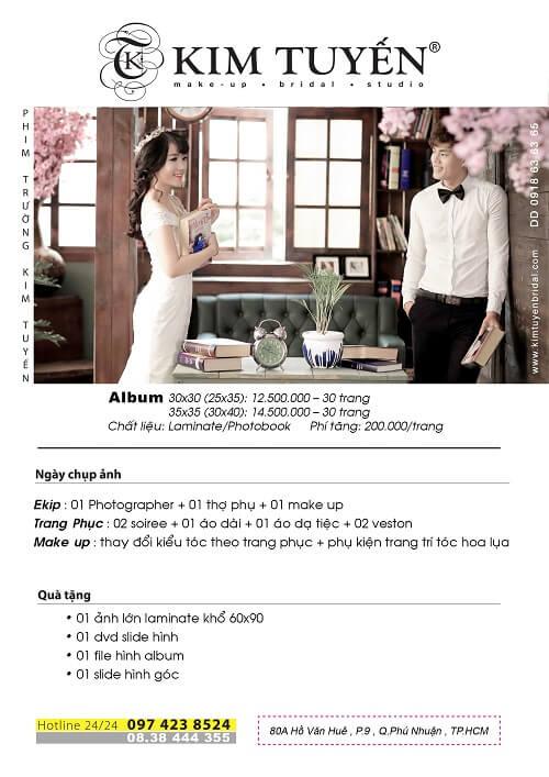 Bảng giá chụp hình cưới phim trường của Kim Tuyến Bridal
