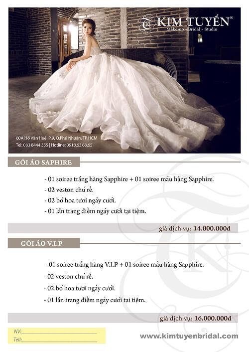 Bảng giá dịch vụ ngày cưới của Kim Tuyến Bridal