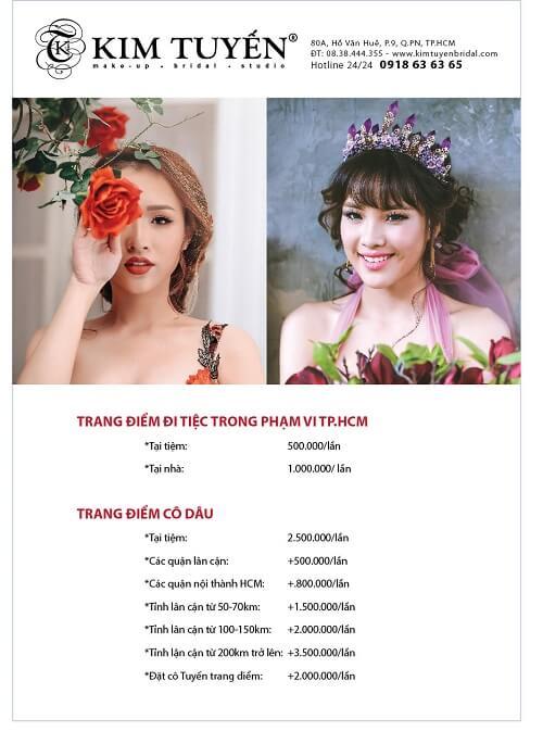 Bảng giá make up của Kim Tuyến Bridal